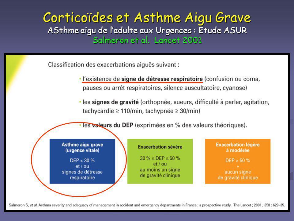 Corticoïdes et Asthme Aigu Grave ASthme aigu de ladulte aux Urgences : Etude ASUR Salmeron et al. Lancet 2001