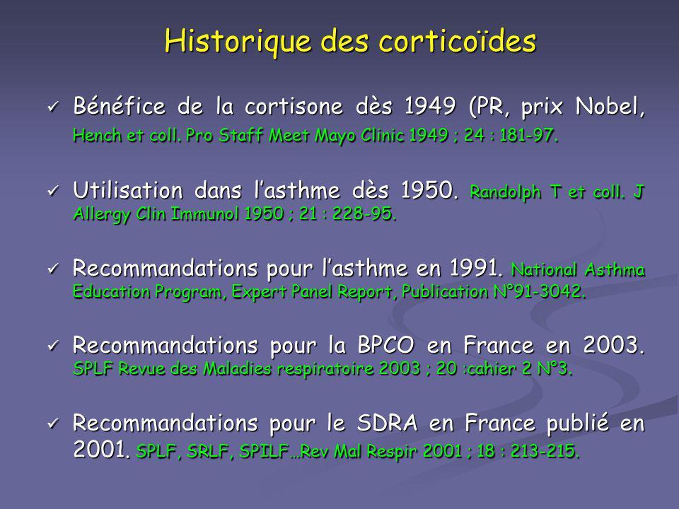 Historique des corticoïdes Bénéfice de la cortisone dès 1949 (PR, prix Nobel, Hench et coll. Pro Staff Meet Mayo Clinic 1949 ; 24 : 181-97. Bénéfice d
