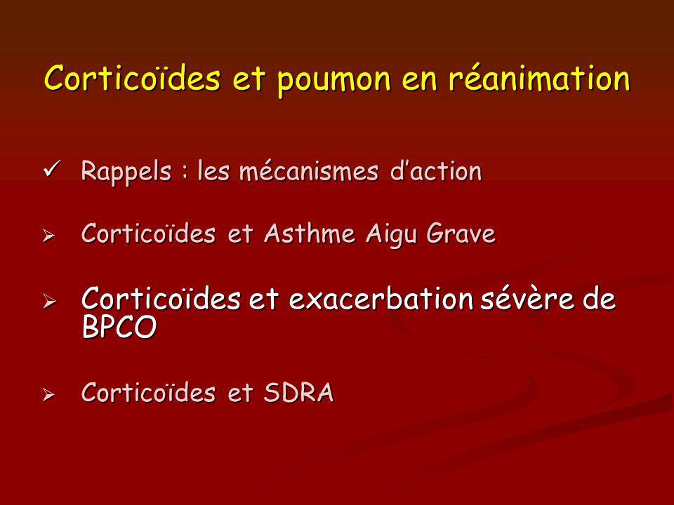 Corticoïdes et poumon en réanimation Rappels : les mécanismes daction Rappels : les mécanismes daction Corticoïdes et Asthme Aigu Grave Corticoïdes et