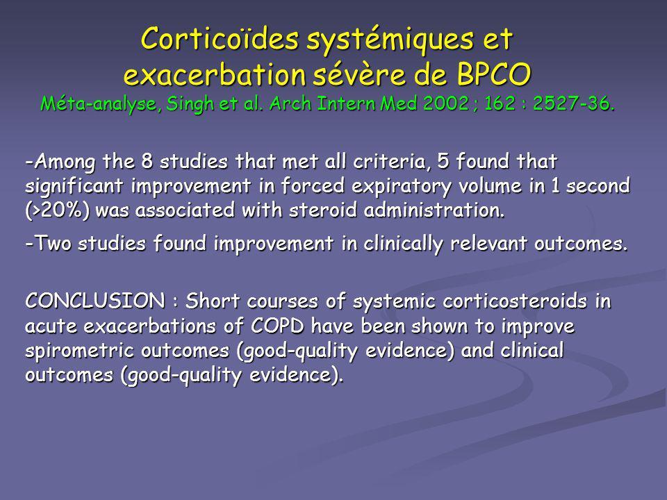 Corticoïdes systémiques et exacerbation sévère de BPCO Méta-analyse, Singh et al. Arch Intern Med 2002 ; 162 : 2527-36. -Among the 8 studies that met