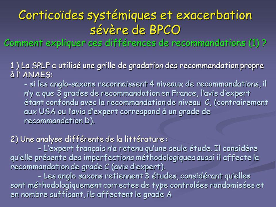 Corticoïdes systémiques et exacerbation sévère de BPCO Comment expliquer ces différences de recommandations (1) ? 1 ) La SPLF a utilisé une grille de
