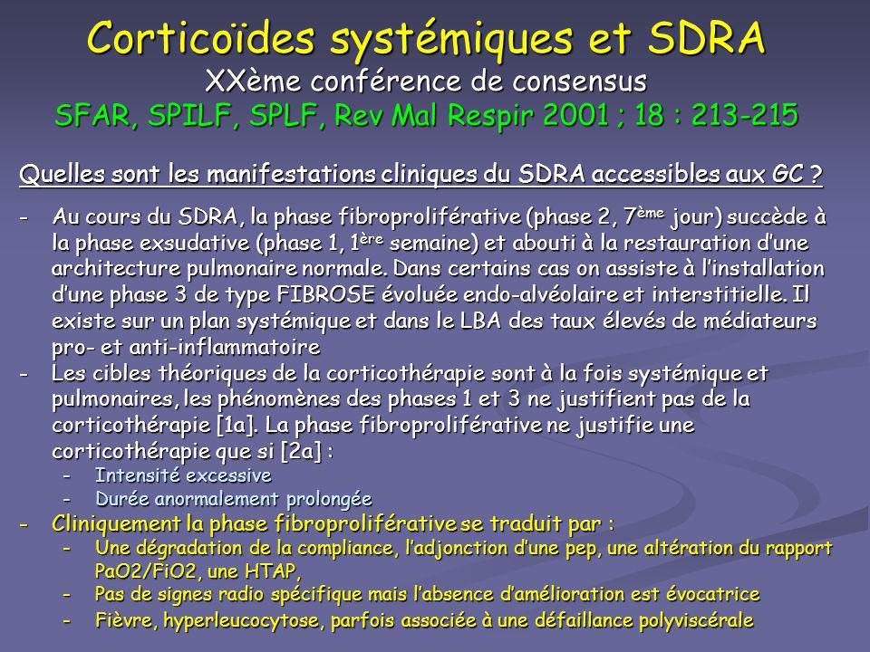 Corticoïdes systémiques et SDRA XXème conférence de consensus SFAR, SPILF, SPLF, Rev Mal Respir 2001 ; 18 : 213-215 Quelles sont les manifestations cl