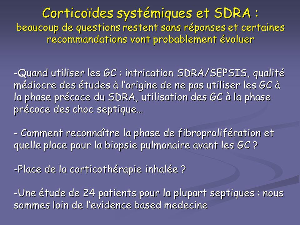 Corticoïdes systémiques et SDRA : beaucoup de questions restent sans réponses et certaines recommandations vont probablement évoluer -Quand utiliser l