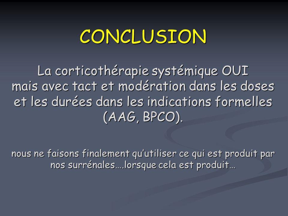 CONCLUSION La corticothérapie systémique OUI mais avec tact et modération dans les doses et les durées dans les indications formelles (AAG, BPCO). nou