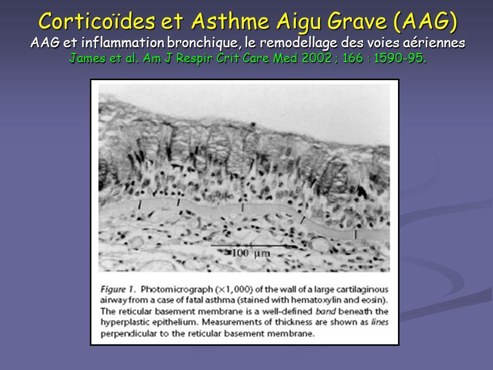 Corticoïdes et Asthme Aigu Grave (AAG) AAG et inflammation bronchique, le remodellage des voies aériennes James et al. Am J Respir Crit Care Med 2002