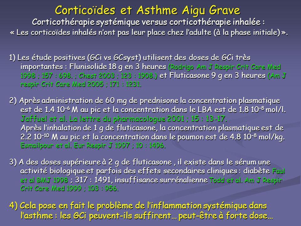 Corticoïdes et Asthme Aigu Grave Corticothérapie systémique versus corticothérapie inhalée : « Les corticoïdes inhalés nont pas leur place chez ladult