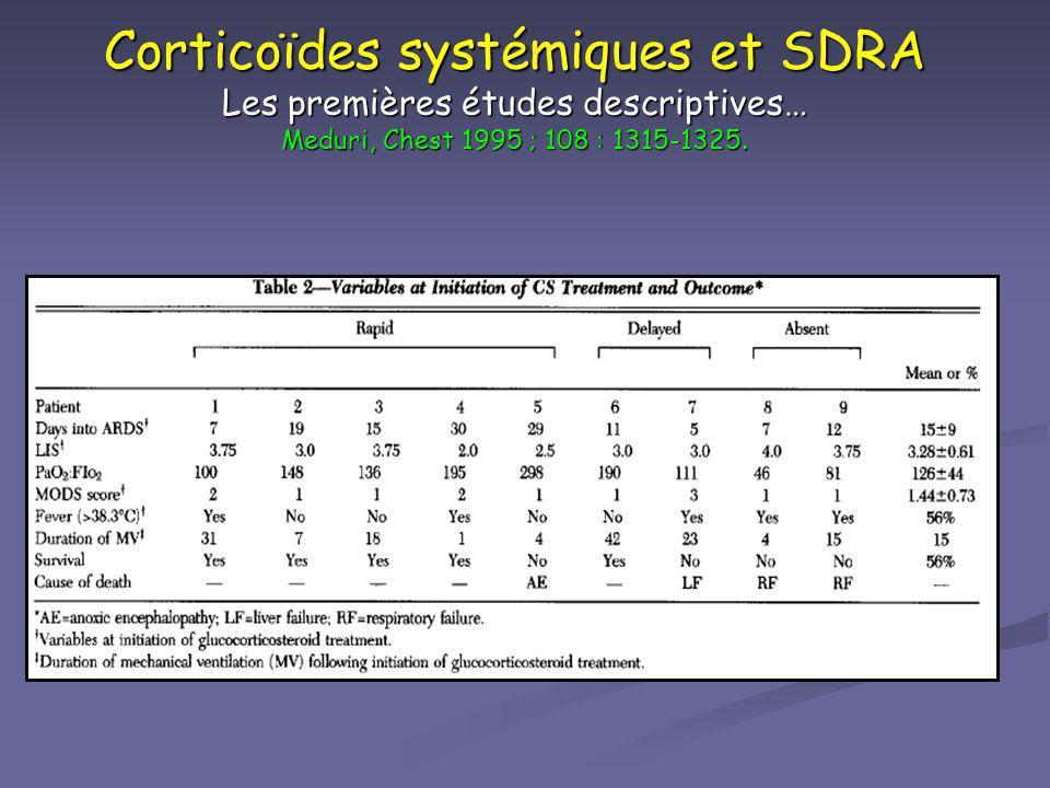 Corticoïdes systémiques et SDRA Les premières études descriptives… Meduri, Chest 1995 ; 108 : 1315-1325.