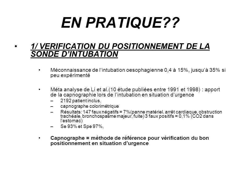 EN PRATIQUE?? 1/ VERIFICATION DU POSITIONNEMENT DE LA SONDE DINTUBATION Méconnaissance de lintubation oesophagienne 0,4 à 15%, jusquà 35% si peu expér