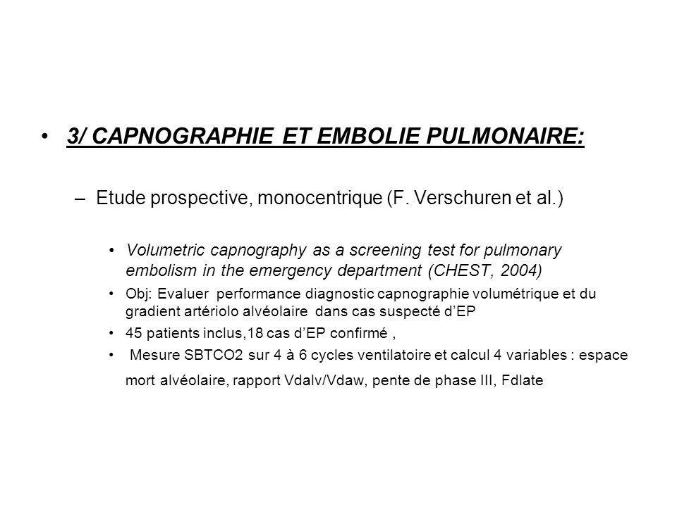 3/ CAPNOGRAPHIE ET EMBOLIE PULMONAIRE: –Etude prospective, monocentrique (F. Verschuren et al.) Volumetric capnography as a screening test for pulmona