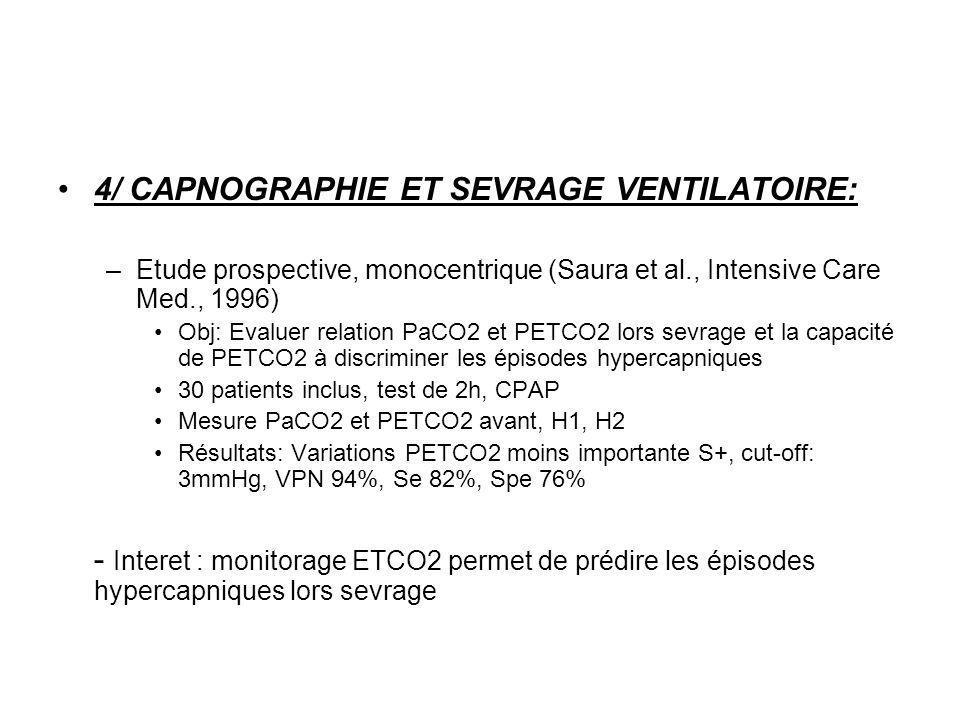 4/ CAPNOGRAPHIE ET SEVRAGE VENTILATOIRE: –Etude prospective, monocentrique (Saura et al., Intensive Care Med., 1996) Obj: Evaluer relation PaCO2 et PE