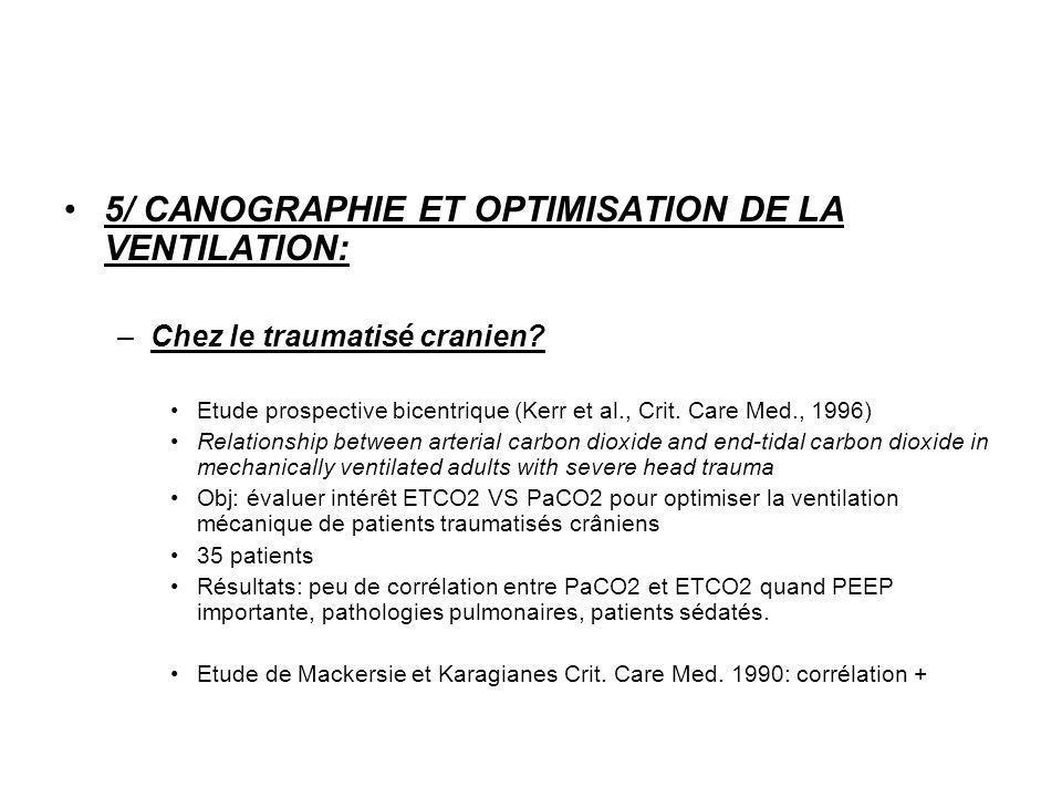 5/ CANOGRAPHIE ET OPTIMISATION DE LA VENTILATION: –Chez le traumatisé cranien? Etude prospective bicentrique (Kerr et al., Crit. Care Med., 1996) Rela