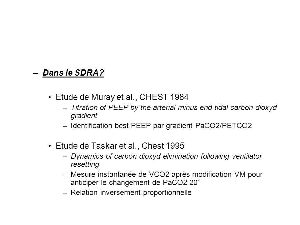 –Dans le SDRA? Etude de Muray et al., CHEST 1984 –Titration of PEEP by the arterial minus end tidal carbon dioxyd gradient –Identification best PEEP p