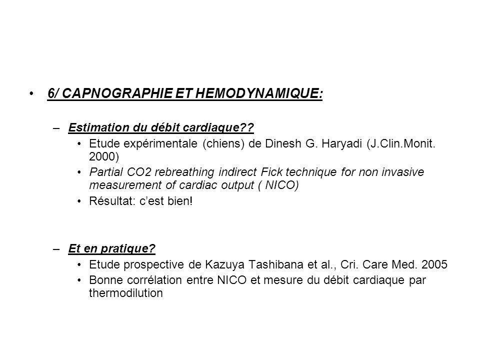 6/ CAPNOGRAPHIE ET HEMODYNAMIQUE: –Estimation du débit cardiaque?? Etude expérimentale (chiens) de Dinesh G. Haryadi (J.Clin.Monit. 2000) Partial CO2