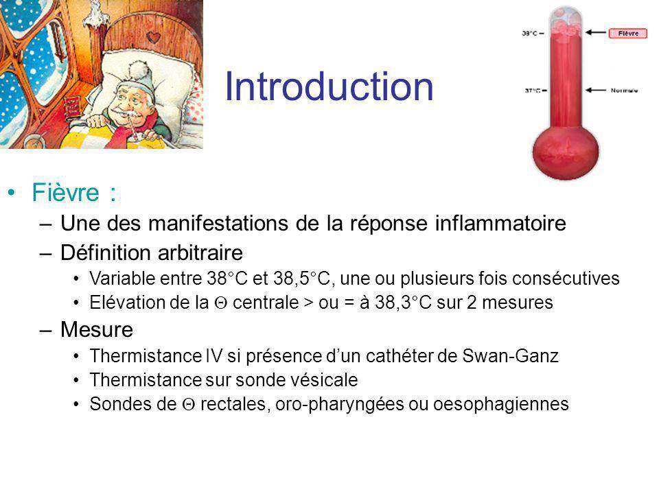 Introduction Fièvre : –Une des manifestations de la réponse inflammatoire –Définition arbitraire Variable entre 38°C et 38,5°C, une ou plusieurs fois