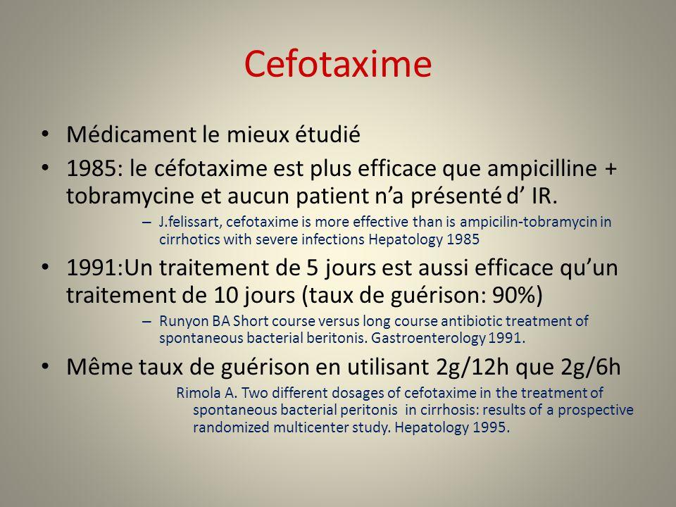 Cefotaxime Médicament le mieux étudié 1985: le céfotaxime est plus efficace que ampicilline + tobramycine et aucun patient na présenté d IR. – J.felis