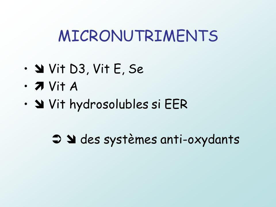 MICRONUTRIMENTS Vit D3, Vit E, Se Vit A Vit hydrosolubles si EER des systèmes anti-oxydants