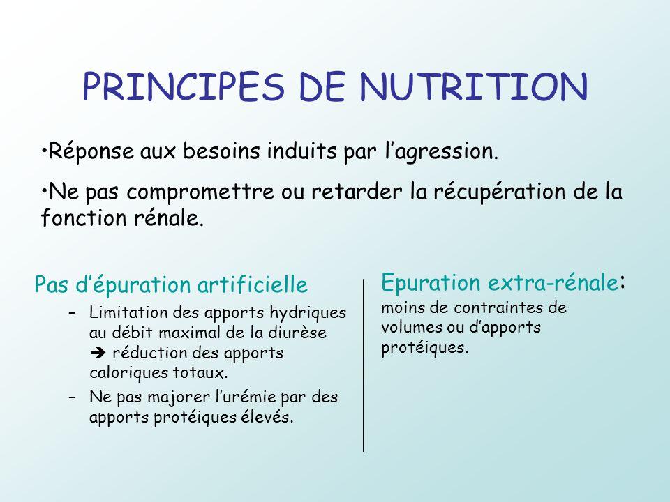 PRINCIPES DE NUTRITION Pas dépuration artificielle –Limitation des apports hydriques au débit maximal de la diurèse réduction des apports caloriques t