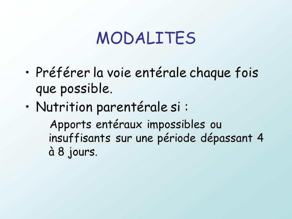 MODALITES Préférer la voie entérale chaque fois que possible. Nutrition parentérale si : Apports entéraux impossibles ou insuffisants sur une période