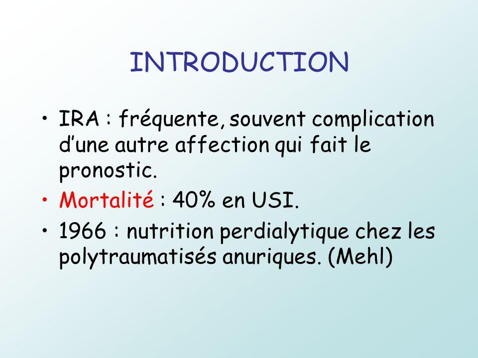 INTRODUCTION IRA : fréquente, souvent complication dune autre affection qui fait le pronostic. Mortalité : 40% en USI. 1966 : nutrition perdialytique
