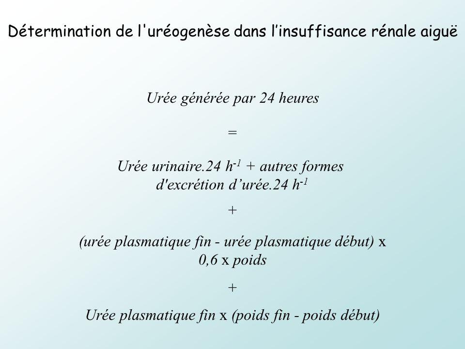 Urée générée par 24 heures Urée urinaire.24 h -1 + autres formes d'excrétion durée.24 h -1 (urée plasmatique fin - urée plasmatique début) x 0,6 x poi