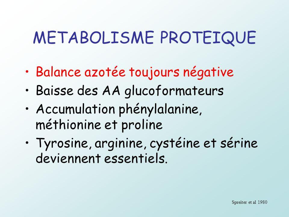 METABOLISME PROTEIQUE Balance azotée toujours négative Baisse des AA glucoformateurs Accumulation phénylalanine, méthionine et proline Tyrosine, argin