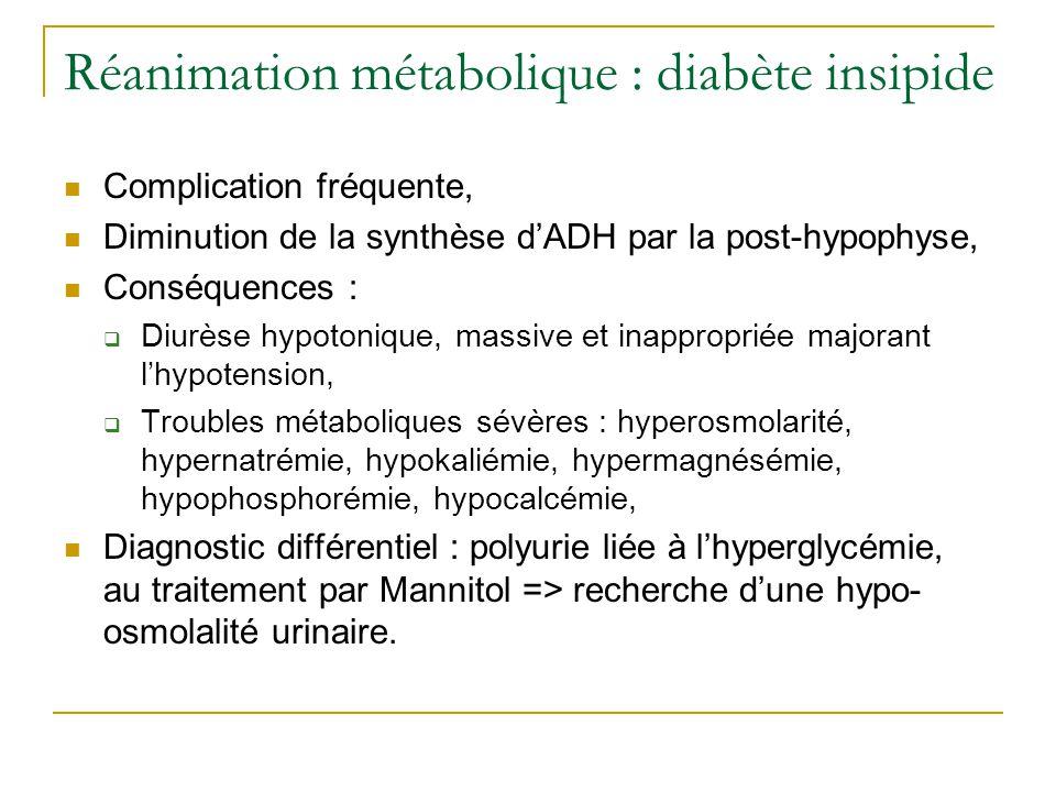 Réanimation métabolique : diabète insipide Critères diagnostiques : Diurèse > 2 mL/kg/heure, Densité urinaire < 1008 si glycosurie ou < 1005, Traitement : Substitution par desmopressine (Minirin®) : doses de 0,5 à 1 µg en IV pour diurèse de 1 à 1,5 mL/kg/heure, traitement précoce, à renouveler toutes les 6 à 12 heures, Compensation de la diurèse, Si hypernatrémie, compensation par soluté hypotonique (SG2,5%) ± électrolytes adaptés au ionogramme et aux osmolalités sanguine et urinaire, Surveillance biologique toutes les 4 heures.