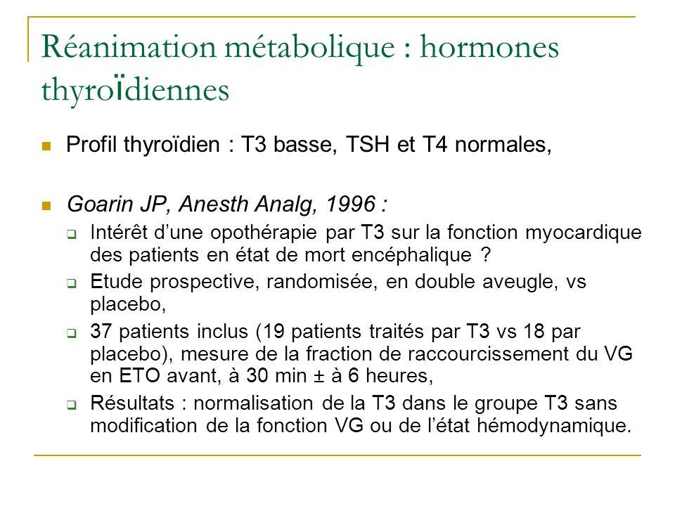Réanimation métabolique : hormones thyro ï diennes Rosendale JD, Transplantation, 2003 : Etude rétrospective sur 4543 greffons cardiaques, Supplémentation par hormones thyroïdiennes, Arginine- Vasopressine, corticoïdes pour améliorer qualité des greffons, Augmentation significative du taux de survie des greffons à 1 mois, diminution du nombre de rejets précoces, Mais étude rétrospective, pas de différenciation des hormones, Actuellement, pas dargument suffisant pour une opothérapie substitutive.