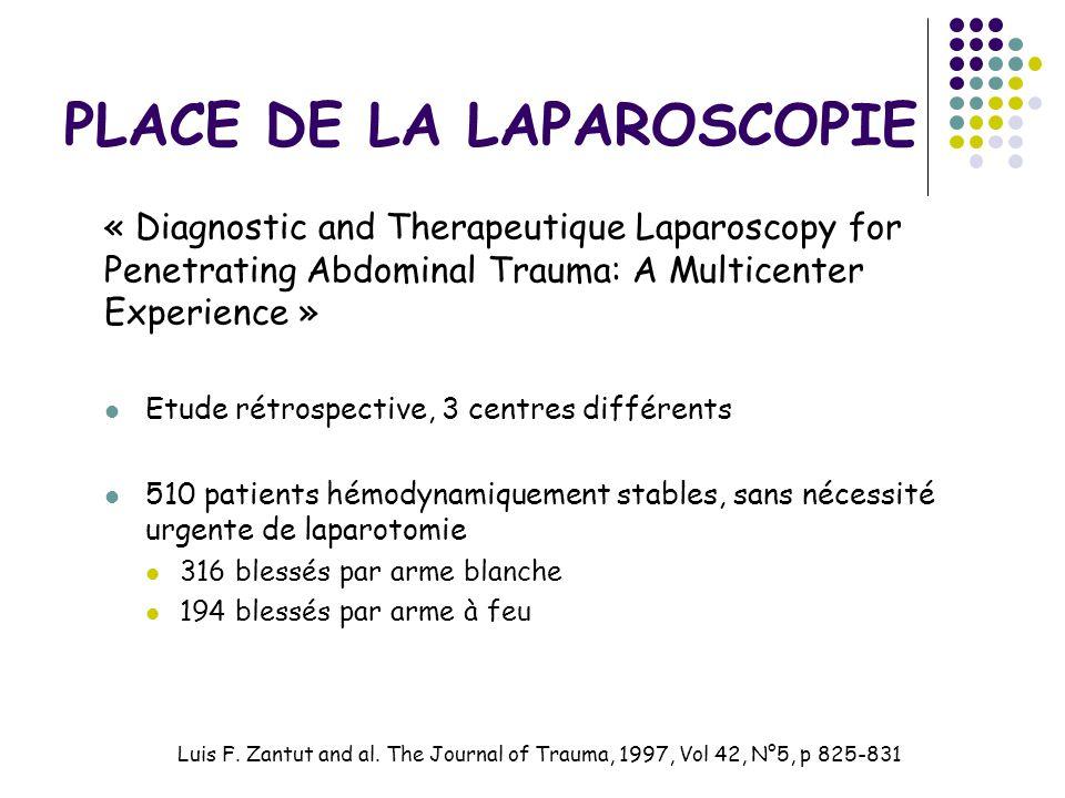 PLACE DE LA LAPAROSCOPIE « Diagnostic and Therapeutique Laparoscopy for Penetrating Abdominal Trauma: A Multicenter Experience » Etude rétrospective,