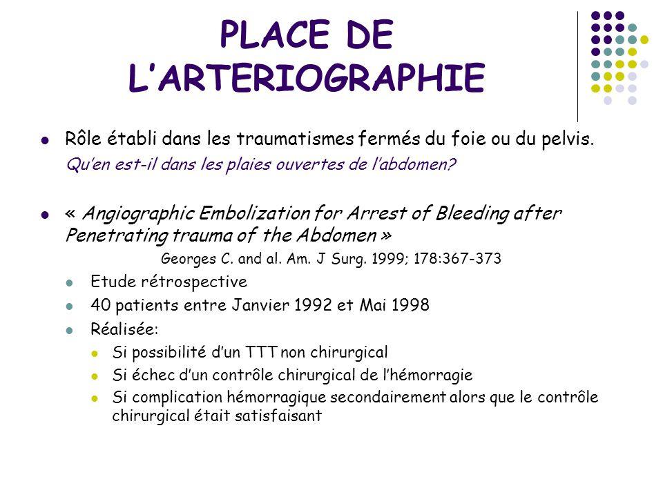 PLACE DE LARTERIOGRAPHIE Rôle établi dans les traumatismes fermés du foie ou du pelvis. Quen est-il dans les plaies ouvertes de labdomen? « Angiograph