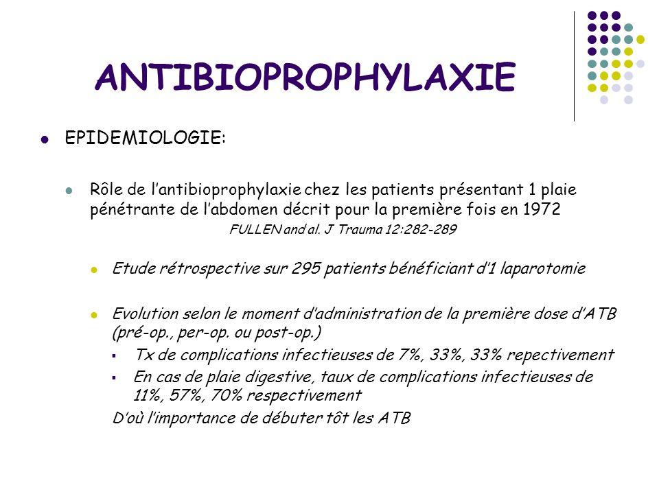 ANTIBIOPROPHYLAXIE EPIDEMIOLOGIE: Rôle de lantibioprophylaxie chez les patients présentant 1 plaie pénétrante de labdomen décrit pour la première fois