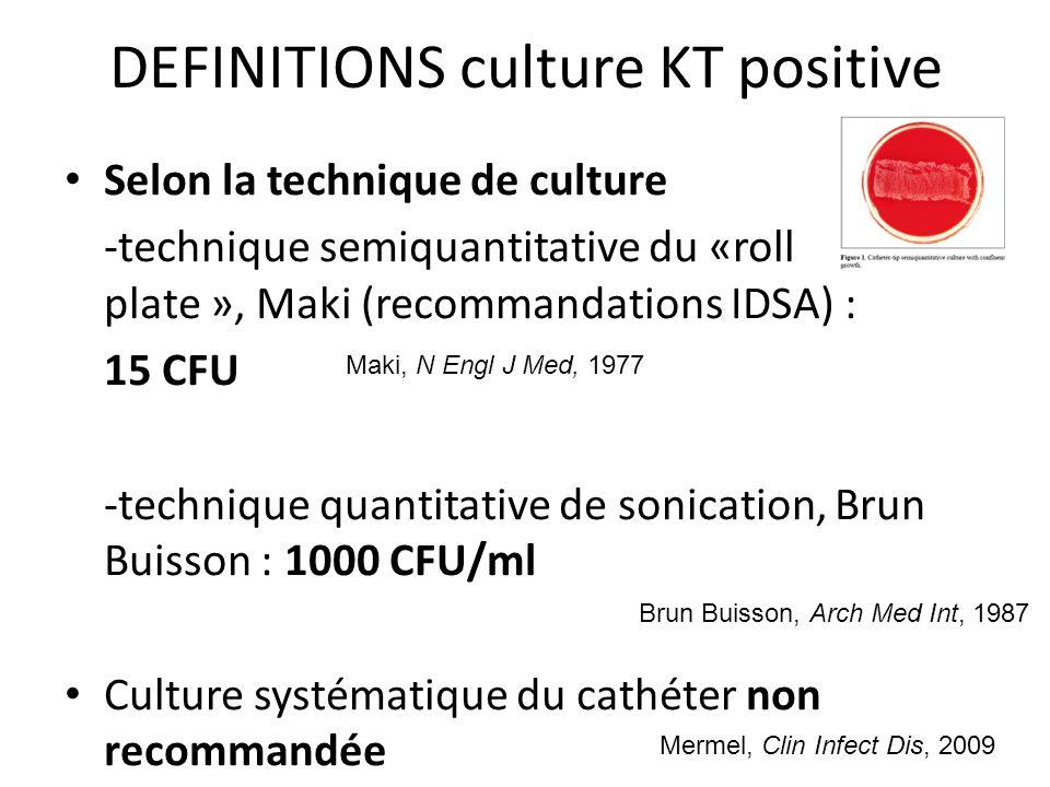 DEFINITIONS Relation culture de cathéter positive et infection liée au cathéter Rjinders, Clin Infect Dis, 2002