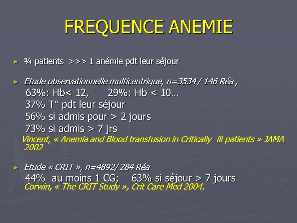 FREQUENCE ANEMIE ¾ patients >>> 1 anémie pdt leur séjour ¾ patients >>> 1 anémie pdt leur séjour Etude observationnelle multicentrique, n=3534 / 146 Réa, Etude observationnelle multicentrique, n=3534 / 146 Réa, 63%: Hb< 12, 29%: Hb < 10… 63%: Hb< 12, 29%: Hb < 10… 37% T° pdt leur séjour 37% T° pdt leur séjour 56% si admis pour > 2 jours 56% si admis pour > 2 jours 73% si admis > 7 jrs 73% si admis > 7 jrs Vincent, « Anemia and Blood transfusion in Critically ill patients » JAMA 2002 Etude « CRIT », n=4892/ 284 Réa Etude « CRIT », n=4892/ 284 Réa 44% au moins 1 CG; 63% si séjour > 7 jours 44% au moins 1 CG; 63% si séjour > 7 jours Corwin, « The CRIT Study », Crit Care Med 2004.