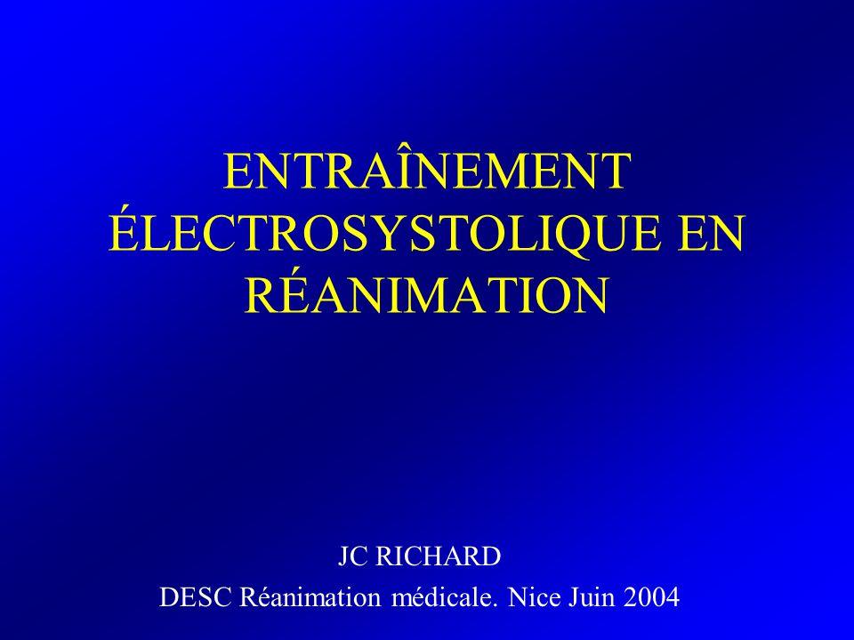 CONCLUSION Contexte dACR (pré-hospitalier/Réa) –entraînement électro-systolique transcutané –Précédant linstauration de lentraînement électro-systolique endocavitaire Bradycardie non syncopale –entraînement électro-systolique endocavitaire Overdrive –des TPSV : entraînement électro-systolique transoesphagien –Des TV non syncopales : entraînement électro-systolique endocavitaire Prophylaxie des troubles rythmiques post-opératoire chirurgie cardiaque –entraînement électro-systolique épicardique Ci de entraînement électro-systolique endocavitaire entraînement électro-systolique transcutané (urgence) –entraînement électro-systolique épicardique