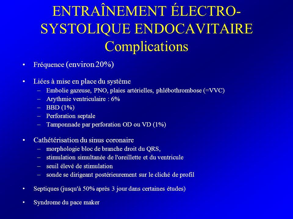 ENTRAÎNEMENT ÉLECTRO- SYSTOLIQUE ENDOCAVITAIRE Complications Fréquence (environ 20%) Liées à mise en place du système –Embolie gazeuse, PNO, plaies ar