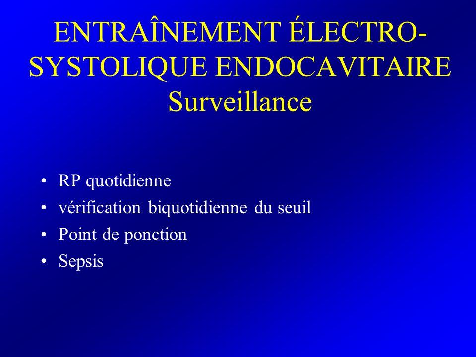 ENTRAÎNEMENT ÉLECTRO- SYSTOLIQUE ENDOCAVITAIRE Surveillance RP quotidienne vérification biquotidienne du seuil Point de ponction Sepsis