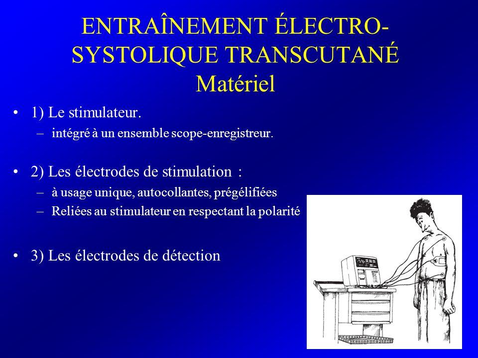 ENTRAÎNEMENT ÉLECTRO- SYSTOLIQUE TRANSCUTANÉ Matériel 1) Le stimulateur. –intégré à un ensemble scope-enregistreur. 2) Les électrodes de stimulation :