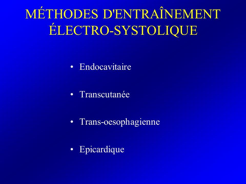 ENTRAÎNEMENT ÉLECTRO- SYSTOLIQUE ENDOCAVITAIRE Peu accessible en cas d urgence hors d un service de réanimation EES réalisé au moyen d une sonde placée par voie vasculaire veineuse au contact de l endocarde du ventricule droit Les électrodes distales de la sonde sont reliées à la cathode et l anode d un stimulateur cardiaque externe –pole distal – –pole proximal +