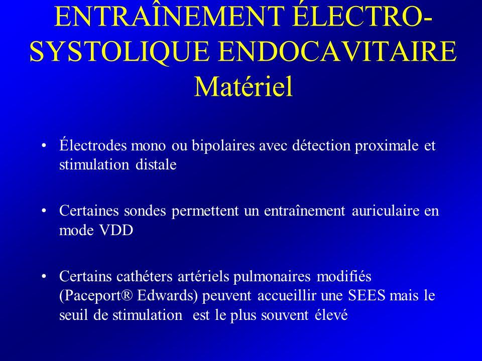 ENTRAÎNEMENT ÉLECTRO-SYSTOLIQUE ENDOCAVITAIRE Technique de pose Abord veineux central: –JID –SCG –Vfémorales impraticable sans radioscopie Sous contrôle scopique ou ECG Réglages initiaux: –Mode: à la demande (si activité cardiaque spontanée) Asynchrone (absence de rythme ventriculaire propre) –Intensité de stimulation: réglée arbitrairement à une valeur de 4mA –Fréquence de stimulation: supérieure à la fréquence propre du patient (si elle existe) –Sensibilité Contrôle RP post pose
