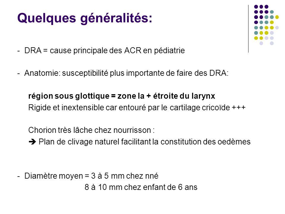 Quelques généralités: - DRA = cause principale des ACR en pédiatrie - Anatomie: susceptibilité plus importante de faire des DRA: région sous glottique = zone la + étroite du larynx Rigide et inextensible car entouré par le cartilage cricoïde +++ Chorion très lâche chez nourrisson : Plan de clivage naturel facilitant la constitution des oedèmes - Diamètre moyen = 3 à 5 mm chez nné 8 à 10 mm chez enfant de 6 ans