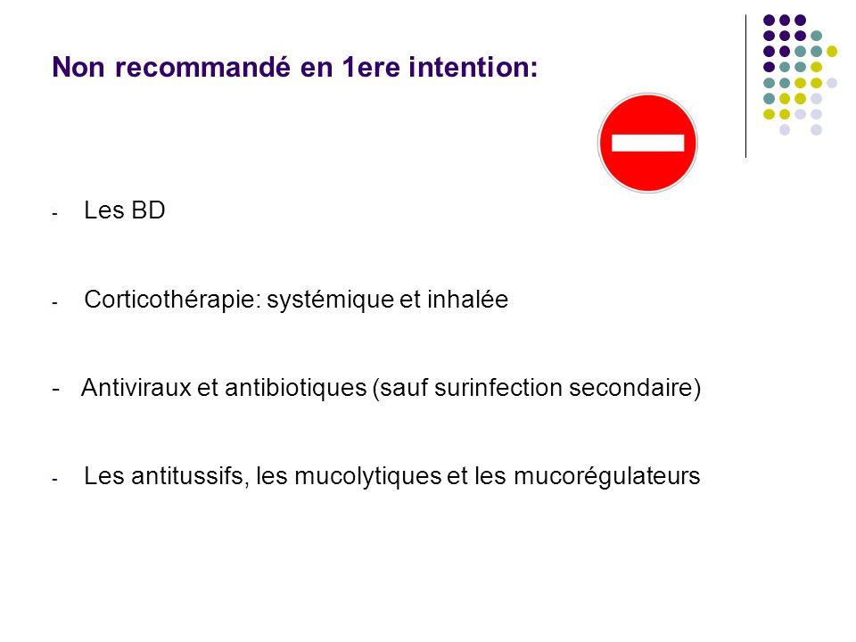 Non recommandé en 1ere intention: - Les BD - Corticothérapie: systémique et inhalée - Antiviraux et antibiotiques (sauf surinfection secondaire) - Les antitussifs, les mucolytiques et les mucorégulateurs