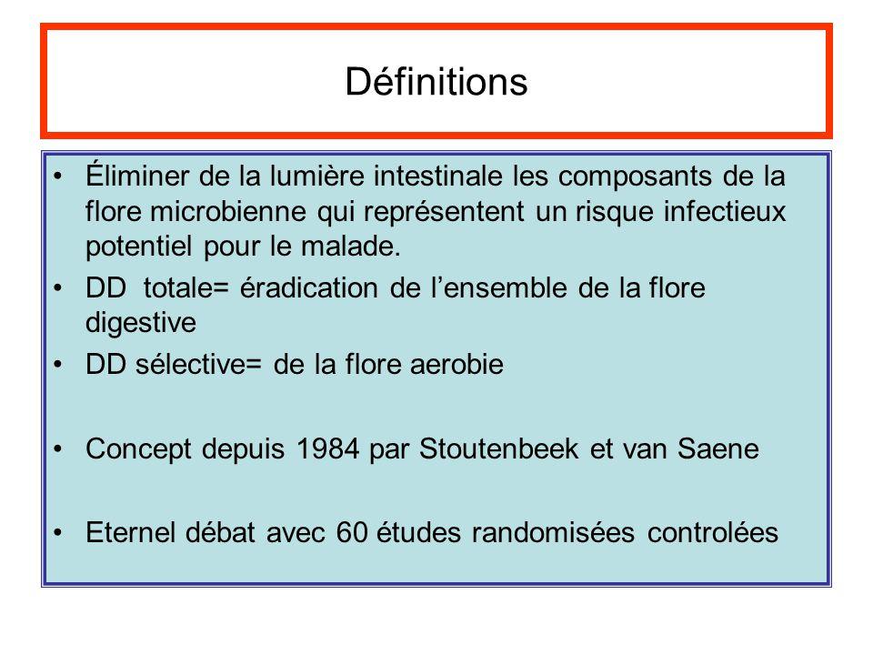 Définitions Éliminer de la lumière intestinale les composants de la flore microbienne qui représentent un risque infectieux potentiel pour le malade.