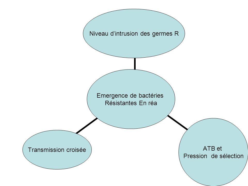 Emergence de bactéries Résistantes En réa Niveau dintrusion des germes R ATB et Pression de sélection Transmission croisée