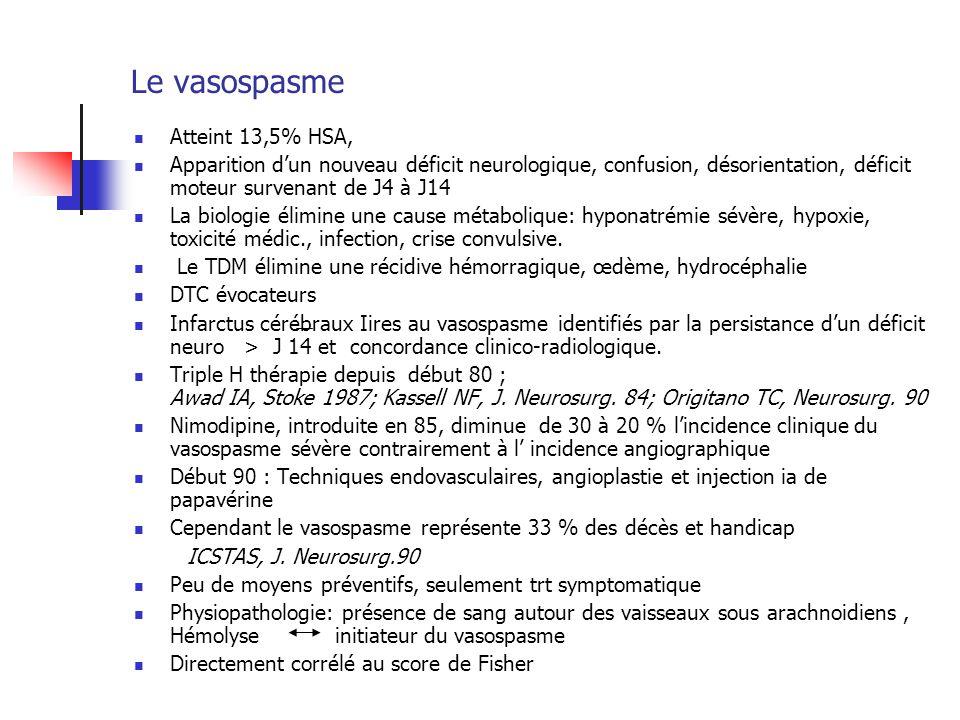 Le vasospasme Atteint 13,5% HSA, Apparition dun nouveau déficit neurologique, confusion, désorientation, déficit moteur survenant de J4 à J14 La biolo