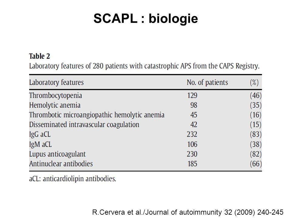 SCAPL : biologie R.Cervera et al./Journal of autoimmunity 32 (2009) 240-245