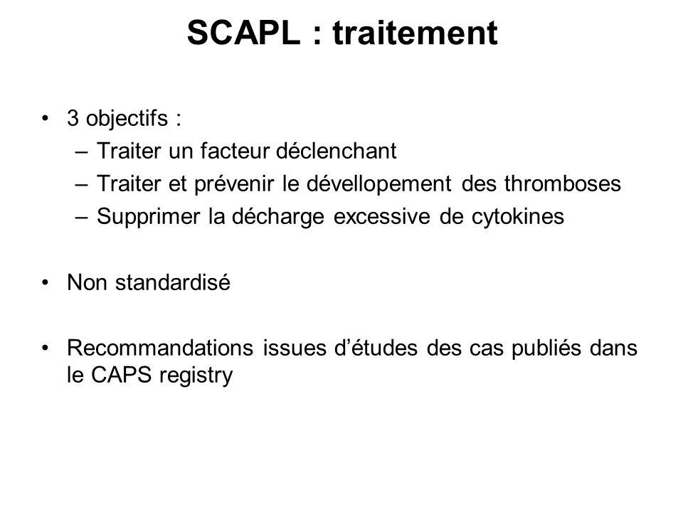 SCAPL : traitement 3 objectifs : –Traiter un facteur déclenchant –Traiter et prévenir le dévellopement des thromboses –Supprimer la décharge excessive