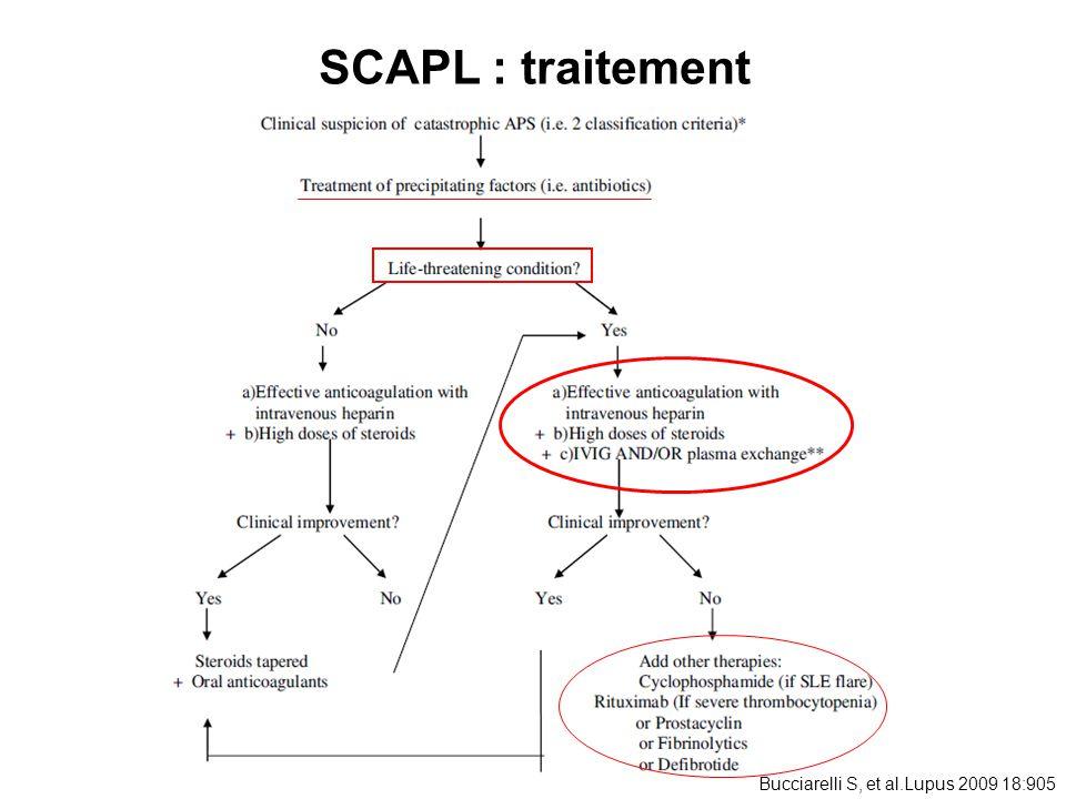 SCAPL : traitement Bucciarelli S, et al.Lupus 2009 18:905