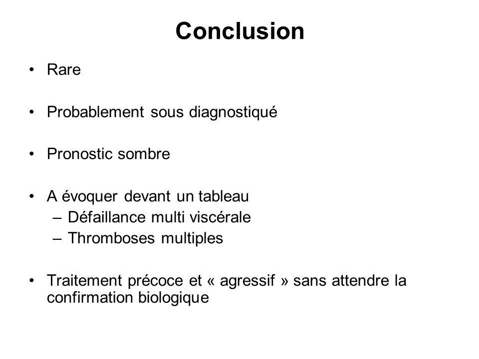 Conclusion Rare Probablement sous diagnostiqué Pronostic sombre A évoquer devant un tableau –Défaillance multi viscérale –Thromboses multiples Traitem