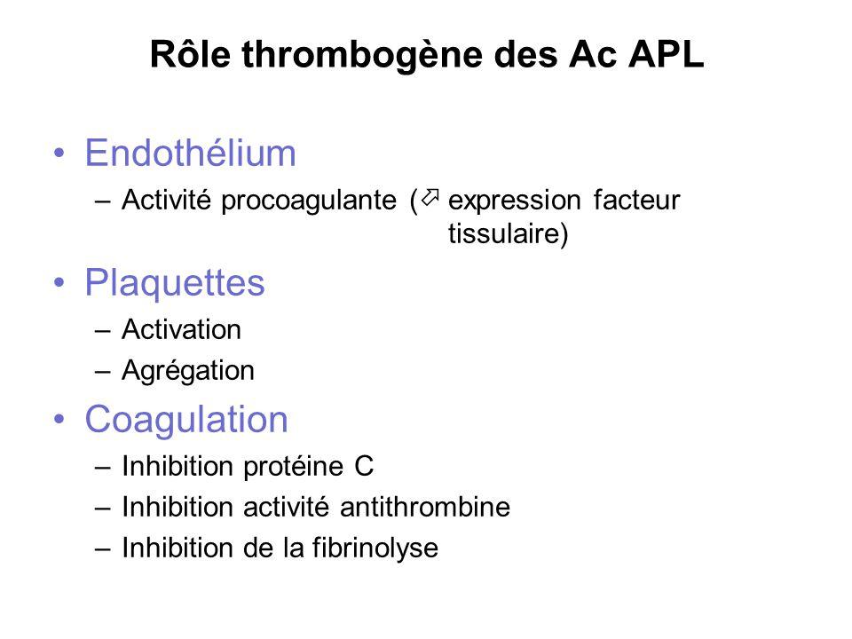 Rôle thrombogène des Ac APL Endothélium –Activité procoagulante ( expression facteur tissulaire) Plaquettes –Activation –Agrégation Coagulation –Inhib