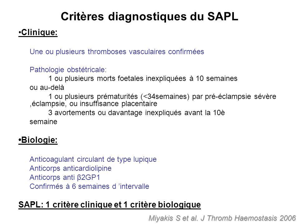Critères diagnostiques du SAPL Clinique: Une ou plusieurs thromboses vasculaires confirmées Pathologie obstétricale: 1 ou plusieurs morts foetales ine
