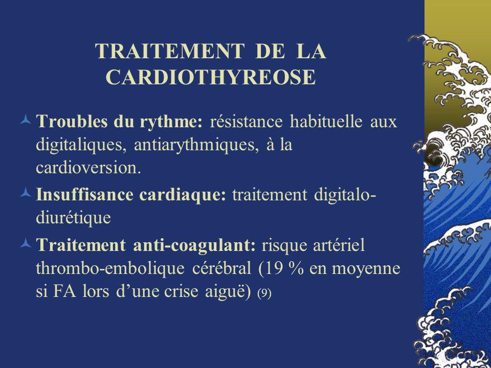 TRAITEMENT DE LA CARDIOTHYREOSE Troubles du rythme: résistance habituelle aux digitaliques, antiarythmiques, à la cardioversion. Insuffisance cardiaqu